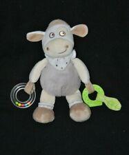 Peluche doudou mouton beige MOTS D'ENFANTS activités dentition grelot 26 cm TTBE