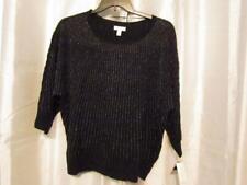 NWT Charter Club Woman 3X Blk Vertical Silver Metallic Striped Sweater Org $80