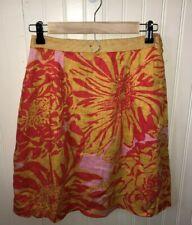 Anthropologie Edme & Esyllte Skirt Linen Floral 2 Orange Pink