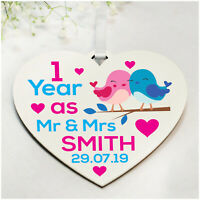 PERSONALISED 1st 5th 10th Wedding Anniversary Gifts for Husband Wife ANY Year