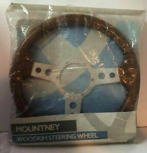 """Mountney Slotted Wood Rim Steering Wheel 14"""" new"""