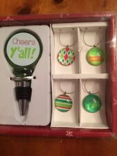 Christmas Holiday Wine Bottle Stopper with 4 Glass Markers-New-SHIPS FREE