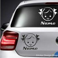 Baby Kinder Motive mit Wunschname Autoaufkleber Sticker Auto Namen Aufkleber M2