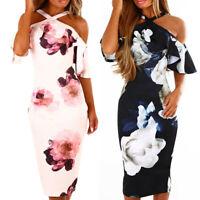 Womens Print Cross Off Shoulder Cold Shouder Dress Evening Party Dress Sundress