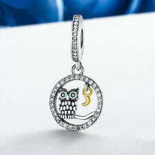 DIY fashion Owl Silver CZ European Charm Beads Fit 925 Pendant Necklace Bracelet