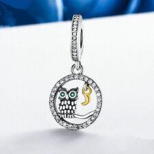 DIY fashion Owl Silver CZ European Charm Beads Fit 925 Pendant Necklace Bracelet