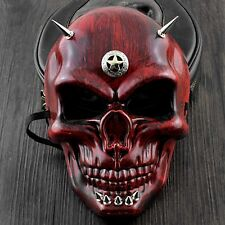 Red Skull Face Steampunk Mask Spikes Halloween Cosplay Costume Masquerade