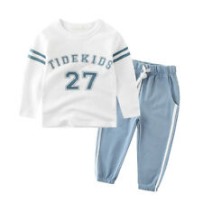 Tracksuit boys kids sports suit for boys striped letter printed t-shirt+pants
