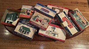 Lot of 10 Plasticville Building Kits- 5 & 10 Cent Store, Diner, Apt. House, Etc.