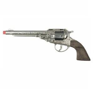 Gonher Civil War Colt Navy 8 Shot Cap Gun Revolver - Silver with Faux Wood Grips