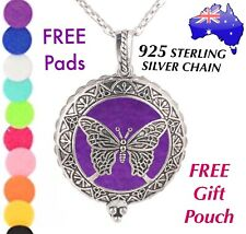 Butterfly Aromatherapy Essential Oil Diffuser Locket 925 Sterling Chain Necklace