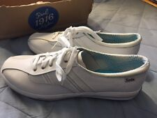 NEW Womens KEDS White w Silver Stitching Sneakers LEATHER Gym Shoes SIZE 9