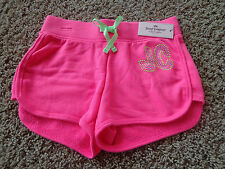 JUICY COUTURE girl's NWT sz M (10/12) pink/green/silver jogger shorts w/bling