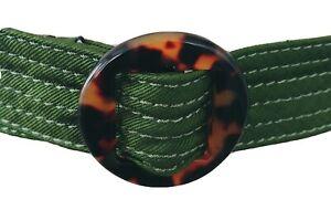 "J Crew 100% Silk Ribbon Belt Olive Green Tortoise Shell Buckle  Size M/L 1.5"""