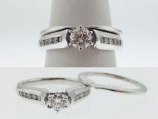 Genuine Diamonds (VVS-I) WEDDING Band SET Solid 14K White Gold Rings FREE Sizing