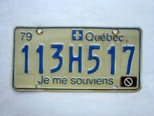 1979 QUEBEC Vintage License Plate # 113H517