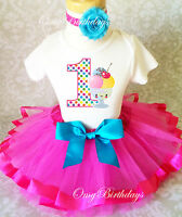 Ice Cream Scoops Hot Pink  Baby Girl 1st First Birthday Tutu Outfit Shirt Set