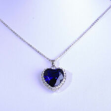 "Elegant Titanic ""Heart Of The Ocean"" Pendant Necklace White Gold Filled Romantic"