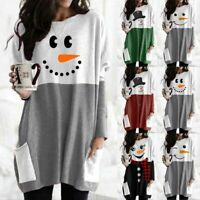 Womens Christmas Xams Snowman Midi Dress Round Neck Long Sleeve Casual Dresses