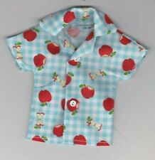 Homemade Doll Clothes-Apples, Apples, Apples Print Shirt that fits Ken Doll B3