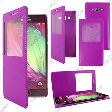 Accessoire Housse Etui Fenêtre View Flip Cover Violet Samsung Galaxy A3 SM-A300F