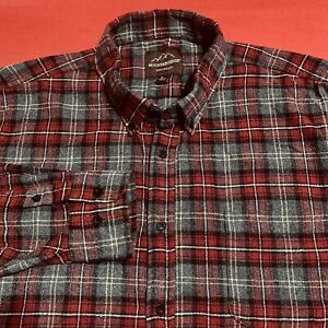 MOUNTAIN  RIDGE ... Plaid  Flannel  Shirt ... Gray & Burgundy ... Size  XL