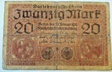 GERMANY #57 1918 GOOD USED 20 MARK OLD VINTAGE BANKNOTE World War I Allemagne