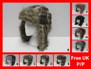 Unisex Lumberjack Check Tartan Plain Peru Faux Fur Padded Trapper Hat Cap