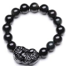 PiXiu Brave Troops Handcrafted Obsidian Buddhist Beads Bracelet Black Good Luck