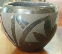 Antique San Ildefonso Black Pottery Bowl Native American Folk Art