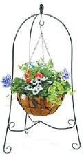 "Panacea  86630 40"" x 24"" Folding 3 Leg Steel Scroll Hanging Basket Plant Stand"