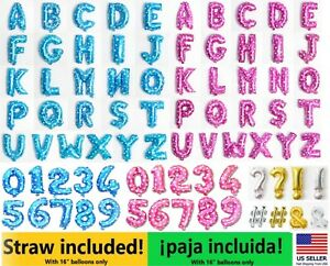 """16"""" Letter Number Foil Balloon Blue Mylar Party Birthday Wedding Baby Shower"""