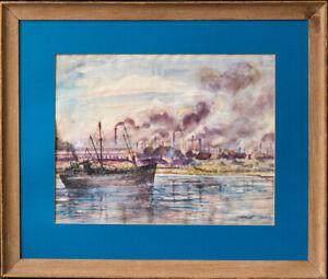 "Reginald Marsh (1898 - 1954) New York/Vermont Artist ""NY Harbor Scene"""