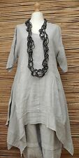 LAGENLOOK BEAUTIFUL ASYMMETRICAL QUIRKY LINEN LONG DRESS*GREY*BUST UP TO 46""