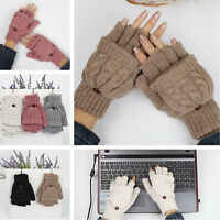 Womens Winter Warm Cable Knit Thermal Converter Fingerless Gloves Flip Top Glove