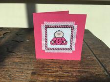 HANDMADE CROSS STITCH BABY GIRL CARD