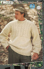 Men's Textured Yoke Sweater Sirdar knitting pattern Aran weight yarn 36-46 inch