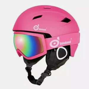 Odoland Snow Ski Helmet and Goggles Pink Set Sports Helmet and Protective Large