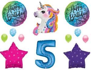 Blue 5th Neon RAINBOW UNICORN Happy Birthday Party Balloons Decoration Girl