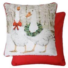 Evans Lichfield Navidad Goosie Ganso Chenille Algodón Rojo Funda de Cojín 43.2cm