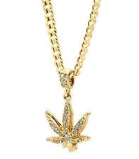 "Men Gold Plated Marijuana Fully Cz Pendant Hip-Hop 24"" 5mm Cuban Necklace Chain"