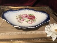 Vintage Sterling China (USA) Pink Rose Platter Embossed Flow Blue Gold Edge 11""