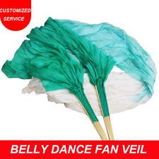 High quality Chinese Pair of belly dancing fans cheap silk veils dance fan veil