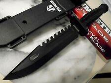 "Bushmaster Survival Fixed Blade Black Bowie Hunter Combat Knife BK4655 12"" OA"