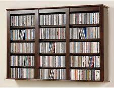 Wall Mounted Storage Cabinet CD DVD Blu Ray Adjustable Shelf Cassette Rack