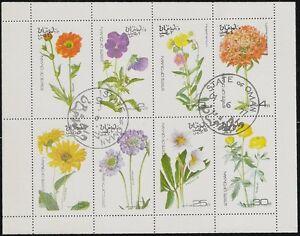 État De Oman Feuille 8 Fleur Timbres, Violets, Plantes, Cto Trucial Bogus