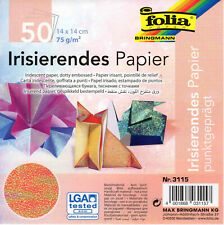 50 Sheets Metallic 15cm Irridescent Dotty Embossed Origami Paper by Folia