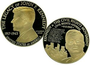 KENNEDY AND THE CIVIL RIGHTS  MOVEMENT COMMEMORATIVE COIN PROOF VALUE $129.95