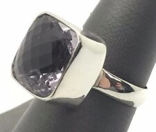 Sterling Silver Solitaire Faceted Square Purple Amethyst Cocktail Ring Size 7.75
