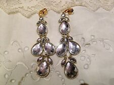 Vintage Antique Style Crystal Look Golden Clip On Chandelier Earrings